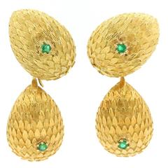 1960s Day-Night Emerald Gold Drop Earrings