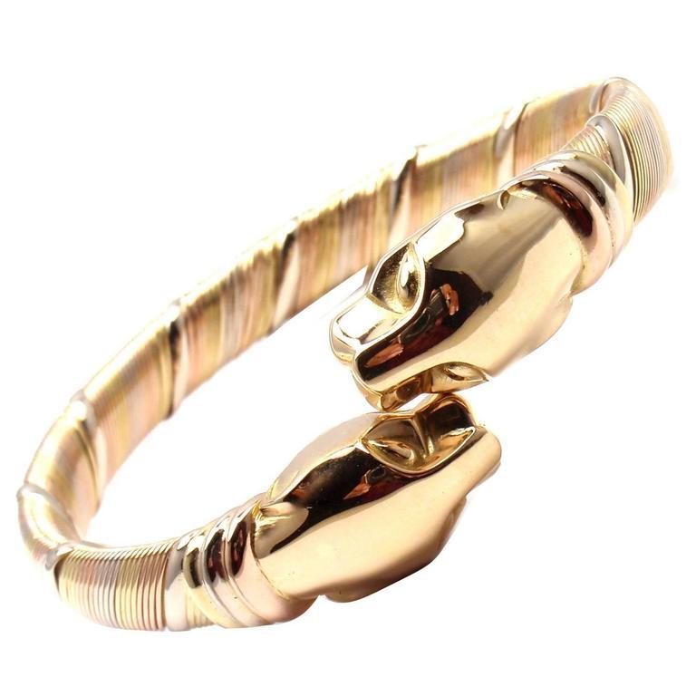 Cartier Panther Tricolor Gold Bangle Bracelet For