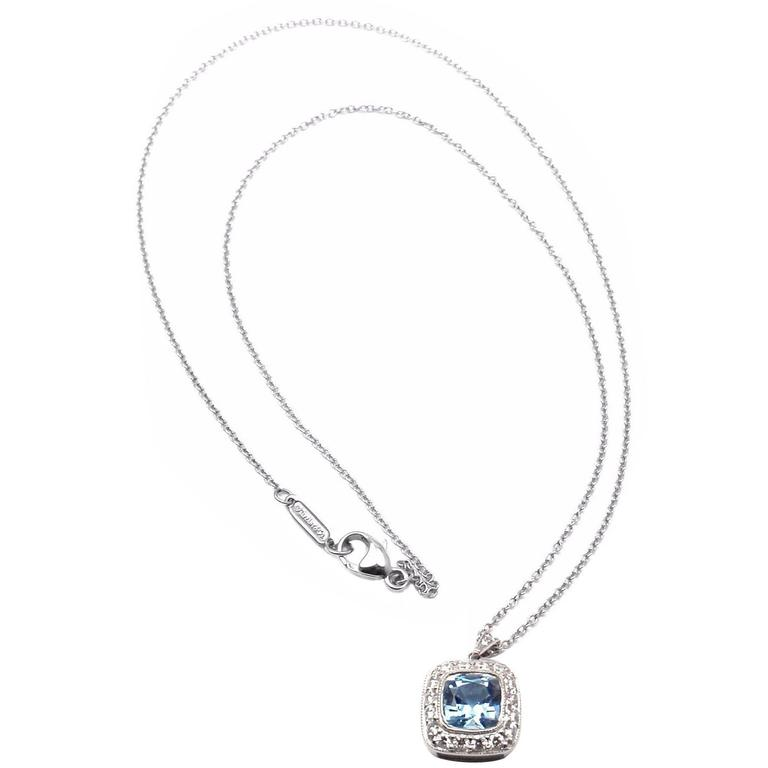 Tiffany & Co. Aquamarine Diamond Platinum Legacy Pendant Necklace 1