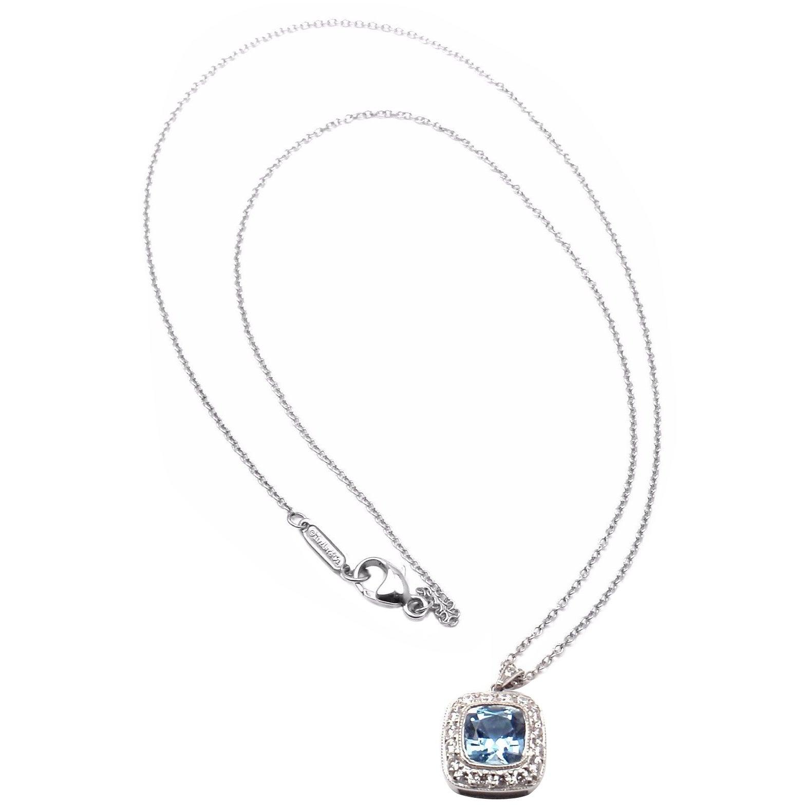 0f1548d08 Tiffany and Co. Aquamarine Diamond Platinum Legacy Pendant Necklace at  1stdibs