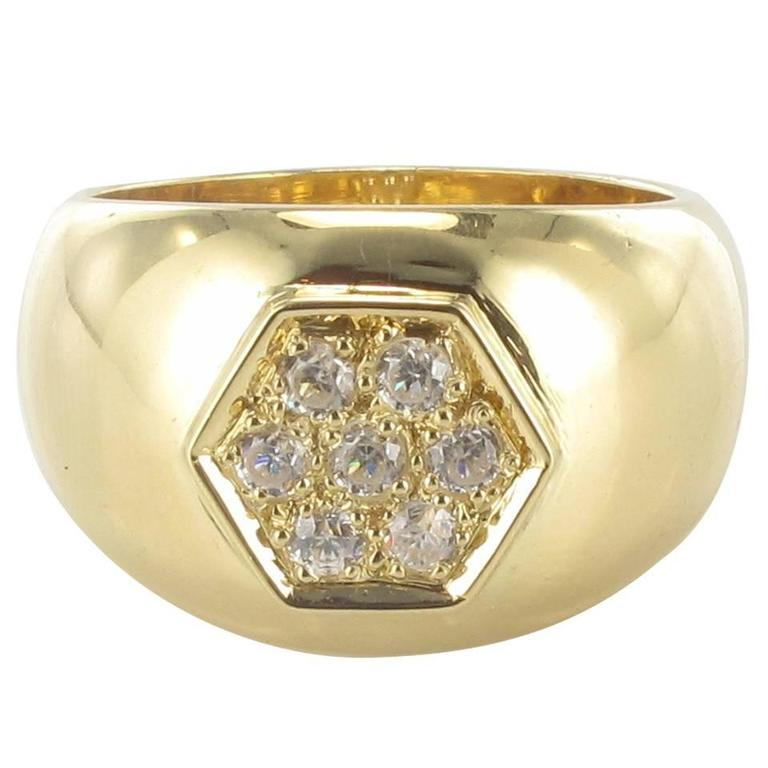 New Wide Diamond Gold Band Ring