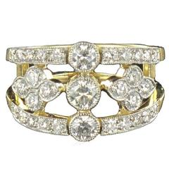 New French Openwork Diamond Gold Platinum Band Ring