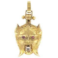 Antique Ruby Diamond Gold Chimera Locket Pendant