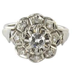 Art Deco French Diamond Gold Ring