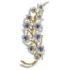 French 1960s Sapphire Diamond Gold Flower Branch Brooch