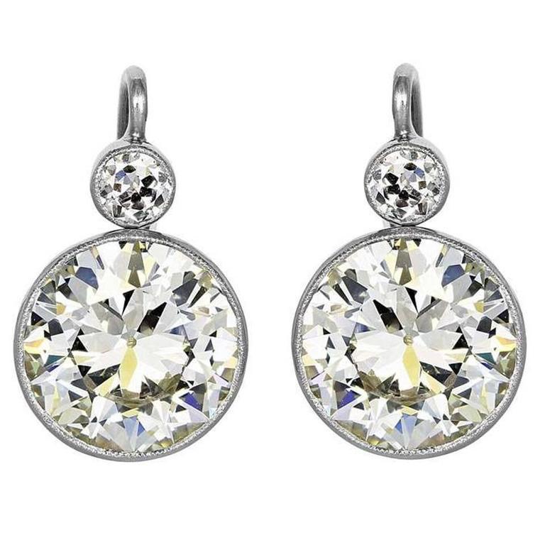 6.87 Carat Old European Cut Diamond Gold Platinum Drop Earrings