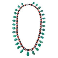 Emerald Coral Onyx Diamond Necklace