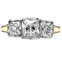 Yellow Gold Old Cushion Cut Diamond Three-Stone Ring