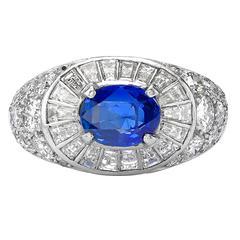 Van Cleef & Arpels Vivid Sapphire Diamond Platinum Ring