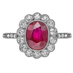 Boucheron Paris Belle Epoque Natural Burmese Oval Ruby Diamond Cluster Ring