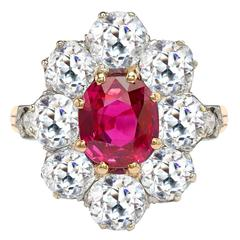 Victorian Oval Unheated Burmese Ruby Diamond Gold Ring with Diamond Surround
