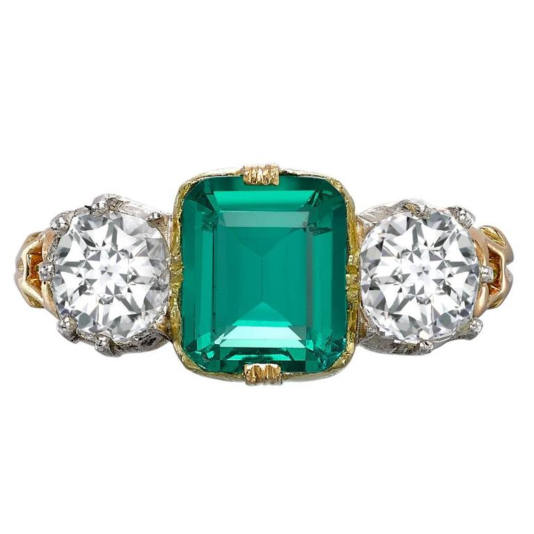 1890s Natural Colombian Emerald Diamond Gold Ring