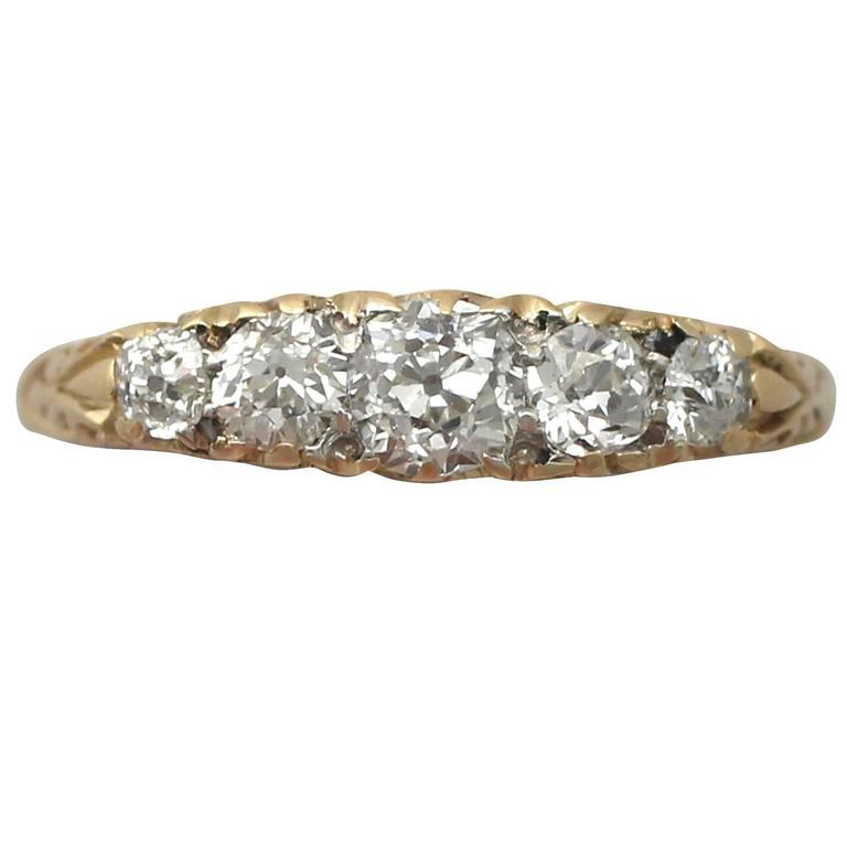 Antique 1900s 0.72 Carat Diamond, 18k Yellow Gold, Five Stone Ring For Sale