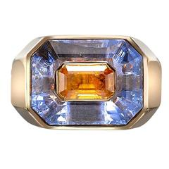 1970s French Yellow and Blue Sapphire Gold Ring