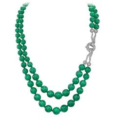 94 Stone Graduated Jadeite Bead Necklet with Diamond Clasp
