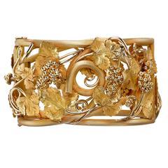 Victorian Gold Grape Leaf and Vine Motif Bangle Bracelet