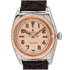 Rolex Rose Gold Stainless Steel Bubbleback Wristwatch 1944