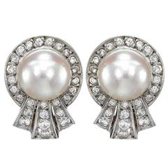 1910s Natural Pearl Diamond Gold Spray Earrings