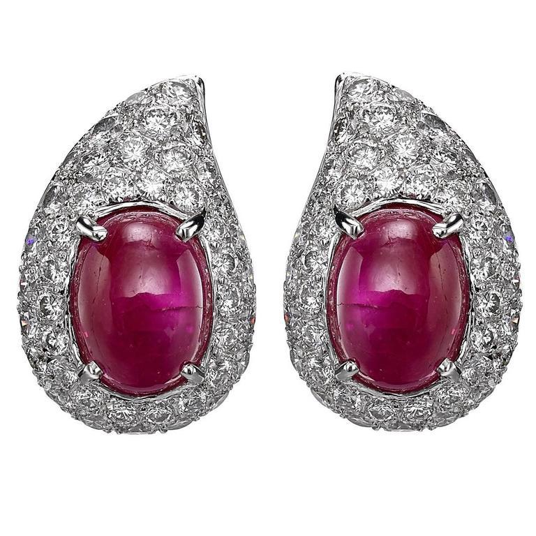 Cartier  Cabochon Ruby Diamond  Earrings
