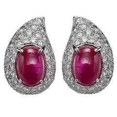 Cartier Cabochon Ruby Diamond Earrings