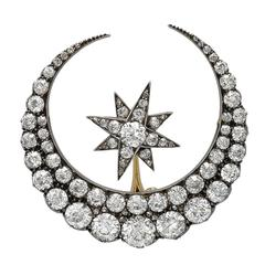Victorian Diamond Silver Gold Crescent and Star Brooch