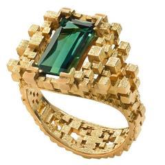 Jo Hayes Ward 3D Printed Sea Green Tourmaline Gold Ring