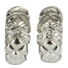 Boucheron Paris Diamond Gold Hoop Earrings