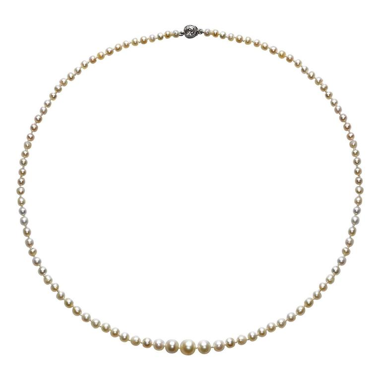 Natural Pearl Diamond Gold Platinum Necklace