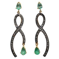 Pear-Shaped Faceted Emeralds with Pave Set Diamonds
