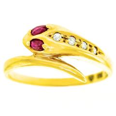 1980s Ruby Diamond Gold Snake Ring