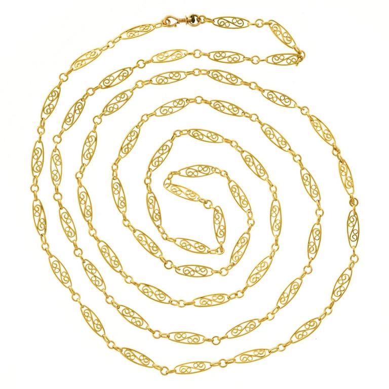 Antique French 60-Inch Filigree Gold Necklace