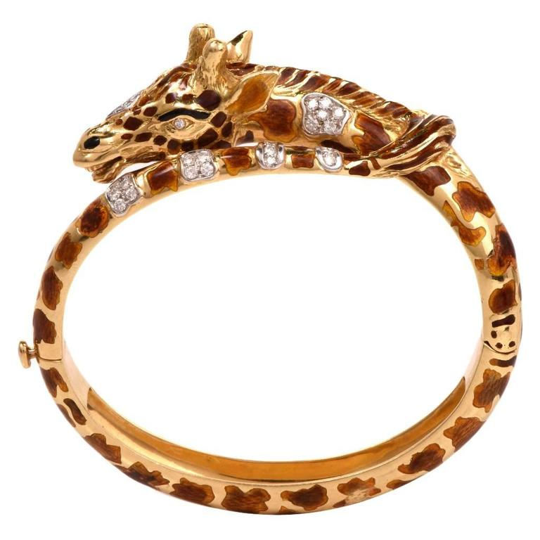 Diamond Enameled Gold Giraffe Bracelet For