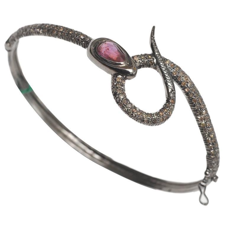 Snake Bracelet with Pave, Set Diamonds and Tourmaline in Oxidized Sterling