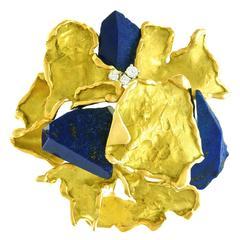 Julia Plana Brutalist Lapis Lazuli Diamond Gold Pendant Brooch