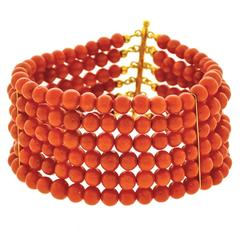 Italian Six-Strand Coral Silver Gilt Bracelet