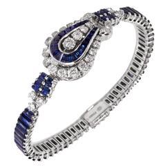 Omega Ladies Platinum Diamond Sapphire Covered Wristwatch