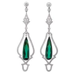 Stunning Green Tourmaline Diamond Platinum Drop Earrings