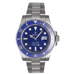 Rolex White Gold Blue Dial Submariner Automatic Wristwatch