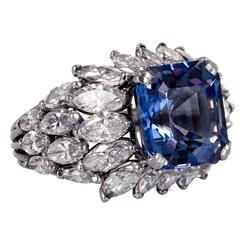 8.02 Carat Sapphire Diamond Platinum Ring
