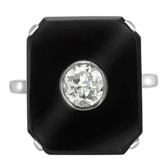 Art Deco Brilliant Cut Diamond  Onyx Tablet Ring