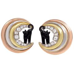 1940s Enamel Diamond Gold Platinum Cat on the Moon Earrings