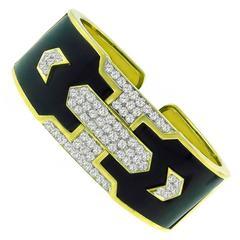 1980s Onyx Diamond Gold Cuff Bangle Bracelet