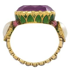 Antique Indian Enamel Pearl Tourmaline Diamond Gold Ring