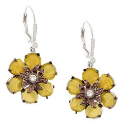 Yellow Slice Diamond Gold Floral Earrings