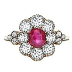 Victorian Oval Ruby Old Cut Diamond Surround Gold Ring