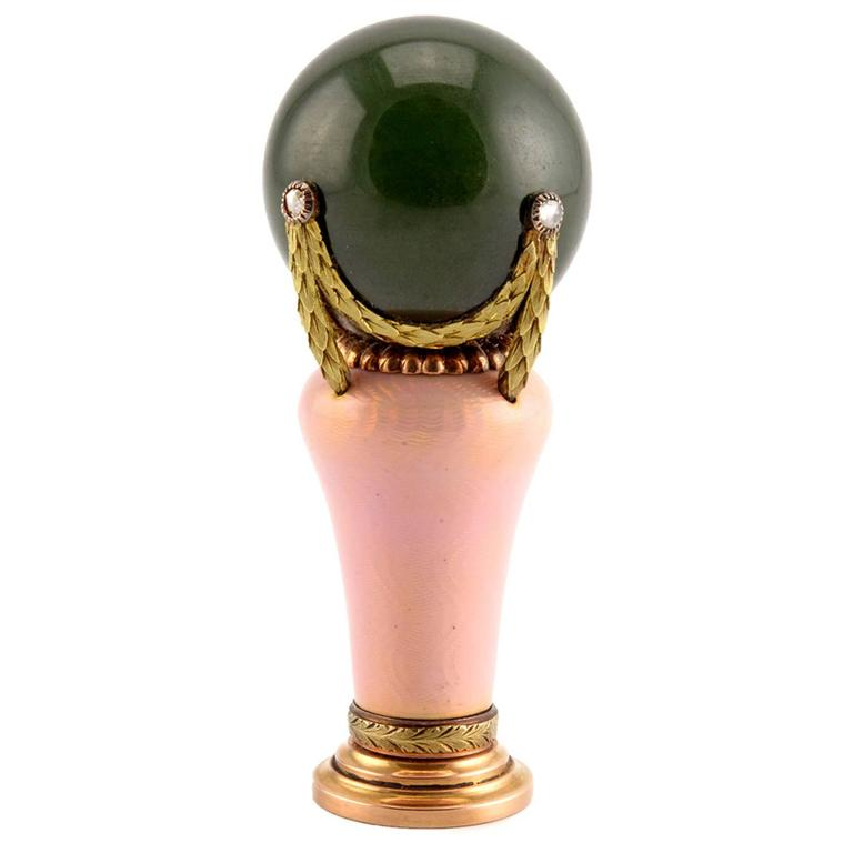 Antique Fabergé Wigström Enamel Nephrite Gold Desk Seal