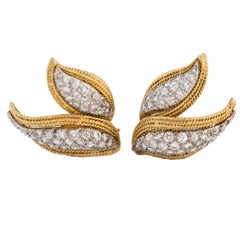 1970s David Webb Diamond Gold Double-Leaf Motif Earrings