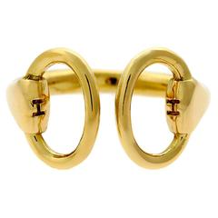 Hermes Gold Stirrup Ring