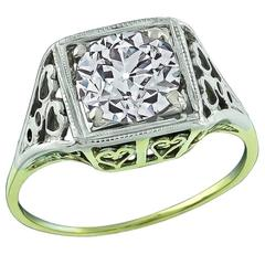 1.14 Carat GIA Cert Old European Diamond Two Color Gold Engagement Ring
