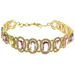 Multicolor Sapphire and Diamond Link Bracelet in 18k Gold
